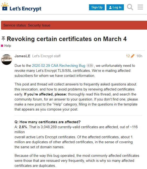 300万张Let's encrypt 证书被吊销,免费SSL证书还敢用吗?